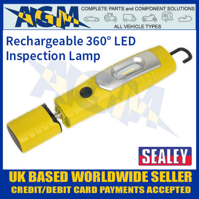 LED3602Y Rechargeable 360° Inspection Lamp 7 SMD + 3W LED Yellow Lithium-ion