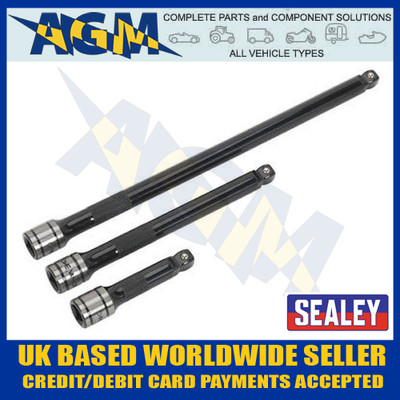 "Sealey AK7691 Wobble/Rigid Extension 3/8"" Three Piece Bar Set"