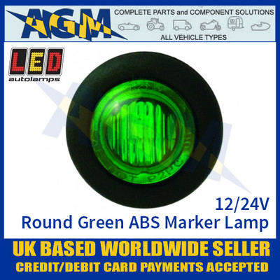 LED Autolamps 181GME LED Round Green ABS Marker Lamp Light 12/24v