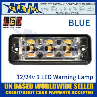 LED Autolamps SSLED3DVB Super-Slim Blue 3 Block LED Warning Lamp