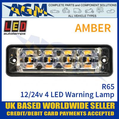LED Autolamps SSLED4DVAR65 Super-Slim Amber 4 Block LED Warning Lamp