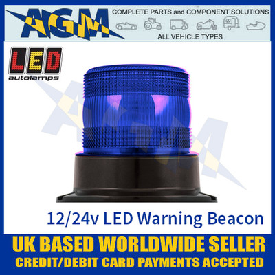 LED Autolamps EQPR10BBM Blue LED Warning Beacon 12v/24v - 3 Bolt Fix
