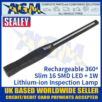 Sealey LED3604 Rechargeable 360º Slim Inspection Lamp 16 SMD LED + 1W LED