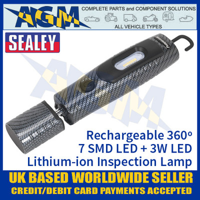 Sealey Rechargeable 360º Inspection Lamp 7 SMD LED + 3W LED - Carbon Fibre