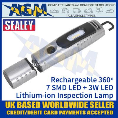 Sealey Rechargeable 360º Inspection Lamp 7 SMD LED + 3W LED - Brushed Aluminium