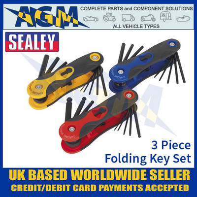 Sealey S01072 3 Piece Folding Key Set, HEX, Ball-End Hex & TRX-Star