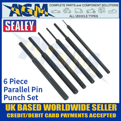 Sealey S0800 6 Piece Parallel Pin Punch Set, Pin Punch Parallel