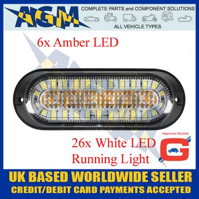Guardian LED17AW Amber 6 Led Warning Light 10-30 Volt