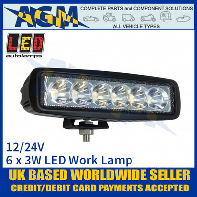 LED Autolamps 16018BW Rectangular 6 x 3W LED Work Lamp, 12/24v