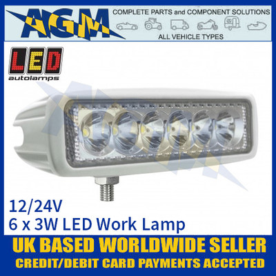 LED Autolamps 16018WM Rectangular 6 x 3W LED Work Lamp, White, 12/24v