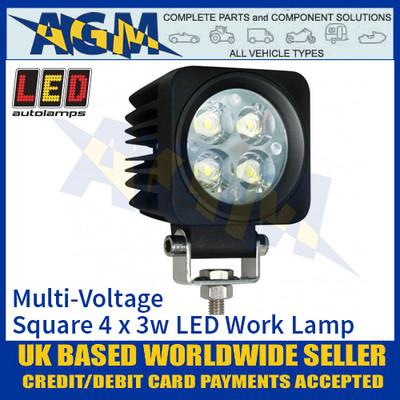 LED Autolamps 6612FB80V Square 4 x 3W LED Work Lamp, Multi-Voltage