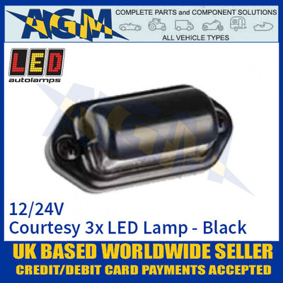 LED Autolamps 6434BWM Black Courtesy Lamp with Clear Lens, 12/24v