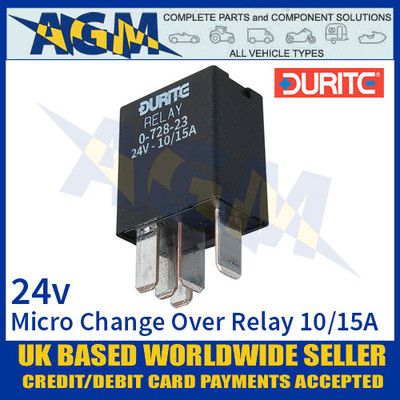 Durite 0-728-23 Relay, 24V. 10A/15A Micro Change Over Relay + Sealed Resistor