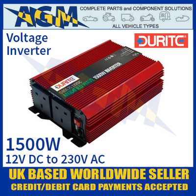 Durite 0-856-25 1500W 12V DC to 230V AC Compact Modified Wave Voltage Inverter