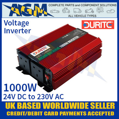 Durite 0-856-70 1000W 24V DC to 230V AC Compact Modified Wave Voltage Inverter