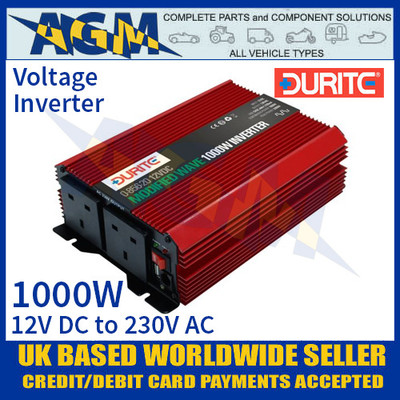 Durite 0-856-20 1000W 12V DC to 230V AC Compact Modified Wave Voltage Inverter