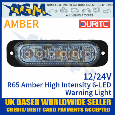 Durite 0-441-50 R65 Amber High Intensity 6-LED Warning Light, 12/24V