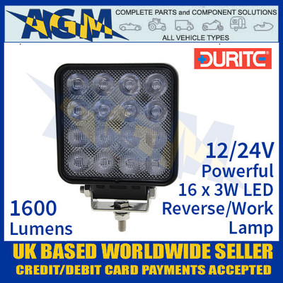 Durite 0-420-48 Powerful 16 x 3w LED Reverse/Work Light, 12/24V
