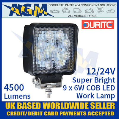 Durite 0-420-86 Super Bright 9 x 6w COB LED Work Lamp, 12/24V
