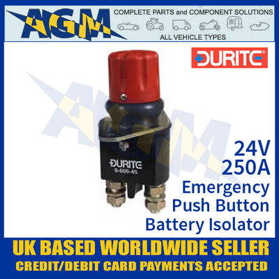 Durite 0-605-45 Emergency Push Button Battery Isolator, 250A 24V