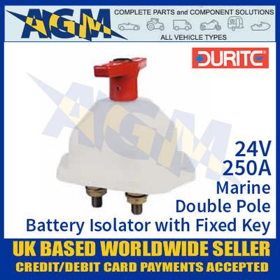 Durite 0-605-26 Marine Double Pole Battery Isolator + Fixed Key, 250A 24V