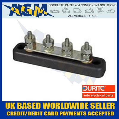 Durite 0-005-51, 4 Way Busbar 100A with ABS Insulated Base