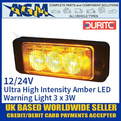 Durite 0-441-30 Amber Ultra High Intensity 3 x 3W LED Warning Light 12/24V