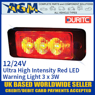 Durite 0-441-35 Red Ultra High Intensity 3 x 3W LED Warning Light 12/24V