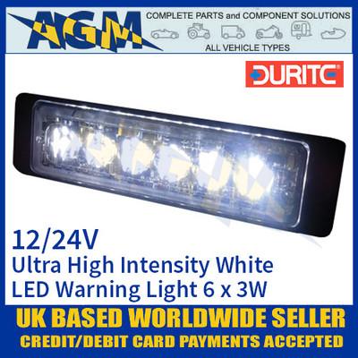 Durite 0-441-07 White Ultra High Intensity 6 x 3W LED Warning Light 12/24V