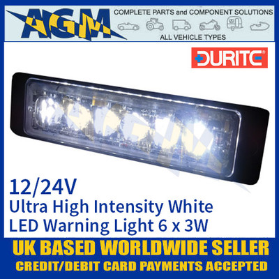 Durite 0-441-07 White Ultra High Intensity 6 x 3W LED Warning Light 12/24V