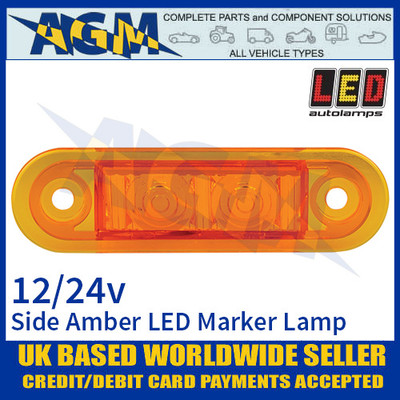 LED Autolamps 7922AMB LED Amber Side Marker Lamp Light 12/24v