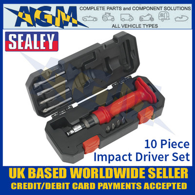 Sealey AK2084 Impact Driver Set, 10 Piece, Heavy Duty Protection Grip