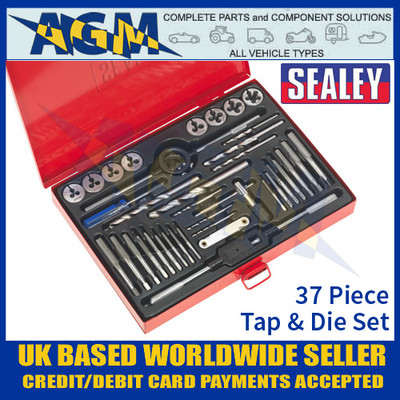 Sealey AK3037 Tap and Die Set, 37 Piece, Heavy Duty, Metric, Split Dies