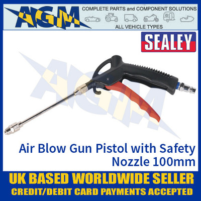 Sealey SA9244 Air Blow Gun Pistol Type with Safety Nozzle 100mm
