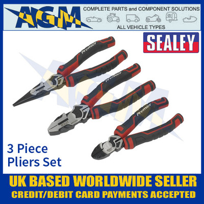 Sealey AK8376 High Leverage Premier Pliers Set, 3 Piece, Pliers Set