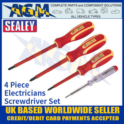 Sealey S01155 4 Piece, Electricians Screwdriver Set, VDE Approved