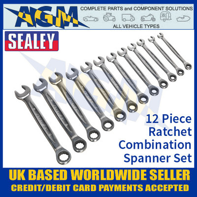 Sealey AK63922 Ratchet Combination Spanner Set 12pc - Metric Spanner Set