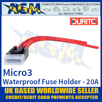0-371-91 Durite Micro3 Fuse Holder, 20A, Waterproof, Micro3, 5 Pack