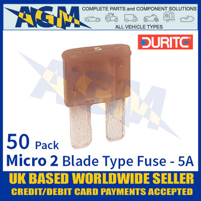 1-376-65 Durite Micro 2 Blade Type Fuse, Tan, 5 Amp, 50 Pack Micro 2 Fuses