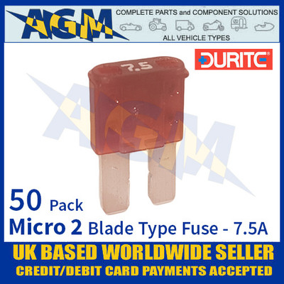 1-376-67 Durite Micro 2 Blade Type Fuse, Brown, 7.5 Amp, 50 Pack Micro 2 Fuses