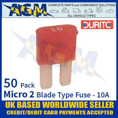 1-376-70 Durite Micro 2 Blade Type Fuse, Brown, 10 Amp, 50 Pack Micro 2 Fuses