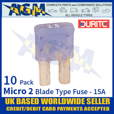 0-376-75 Durite Micro 2 Blade Type Fuse, Blue, 15 Amp, 10 Pack Micro 2 Fuses