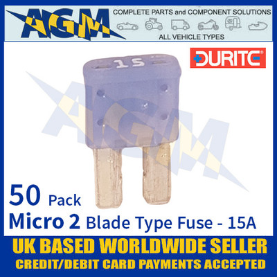 1-376-75 Durite Micro 2 Blade Type Fuse, Blue, 15 Amp, 50 Pack Micro 2 Fuses