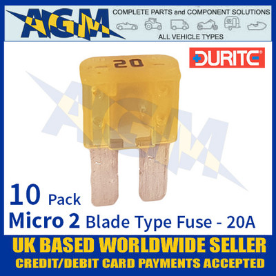 0-376-80 Durite Micro 2 Blade Type Fuse, Yellow, 20 Amp, 10 Pack Micro 2 Fuses