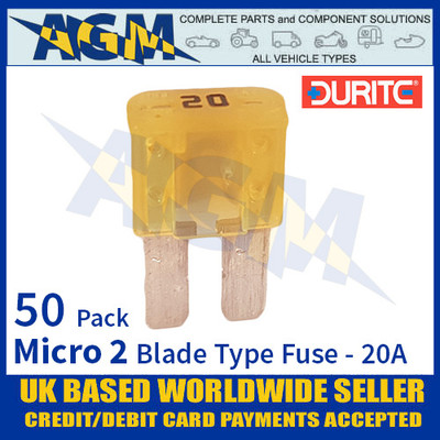 1-376-80 Durite Micro 2 Blade Type Fuse, Yellow, 20 Amp, 50 Pack Micro 2 Fuses