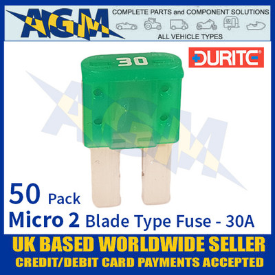 1-376-83 Durite Micro 2 Blade Type Fuse, Green, 30 Amp, 50 Pack Micro 2 Fuses