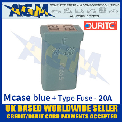 0-379-09 Durite Blue Mcase + Type Fuse - 20 Amp, Mcase & Fuse 20A