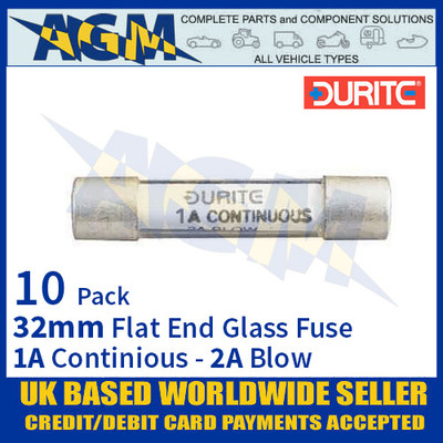 0-374-01 Durite 32mm Flat-Ended Glass Fuse - 1A Cont with 2A Blow