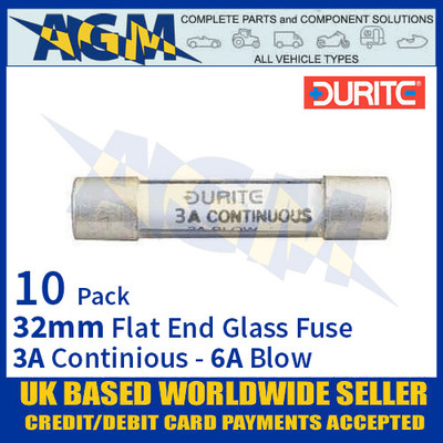 0-374-03 Durite 32mm Flat-Ended Glass Fuse - 3A Cont with 6A Blow