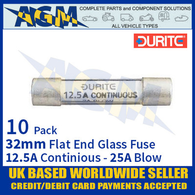 0-374-25 Durite 32mm Flat-Ended Glass Fuse - 12.5A Cont with 25A Blow